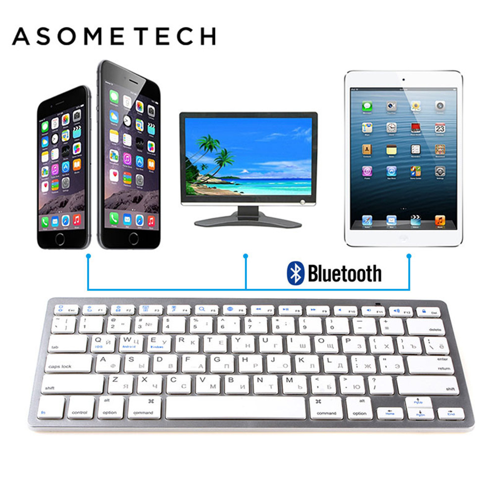Silver and Black Russian Wireless Bluetooth 3.0 keyboard for iPad Tablet Laptop Smartphone Support iOS Windows Android Keyboards
