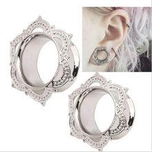 Tampões de ouvido de flor de cobre, 2 peças, expansão de carne, piercing, tampões para os ouvidos, brincos, expansor de orelhas, anéis, joias de corpo