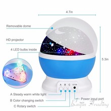 Night Light Projector Star Moon Sky Rotating Battery Operated Bedside Lamp For Children Kids Baby Bedroom Nursery