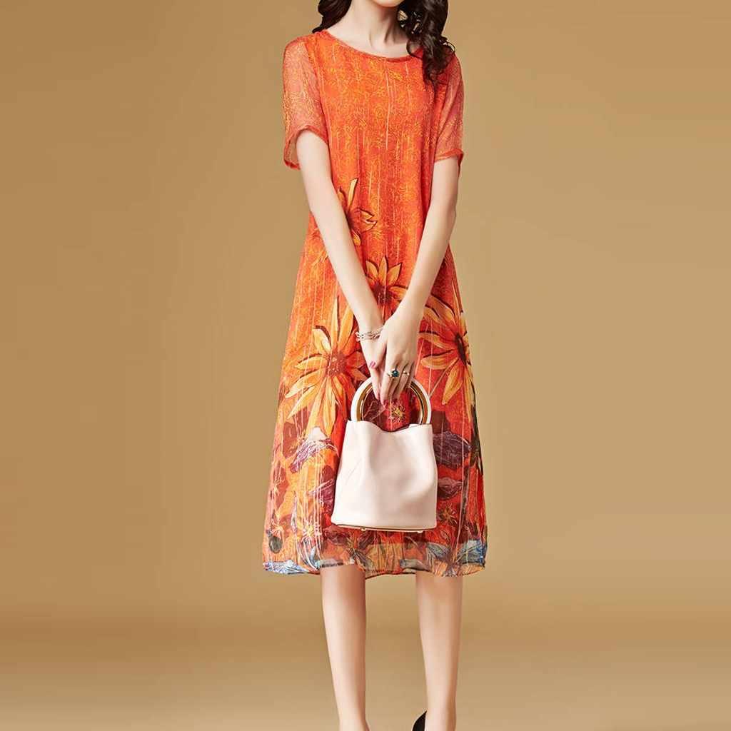 חמניות הדפסת שמלת נשים אופנה קיץ קצר שרוול רופף באורך הברך נשים שמלות קיץ 2019 vestido דה festa לונגו
