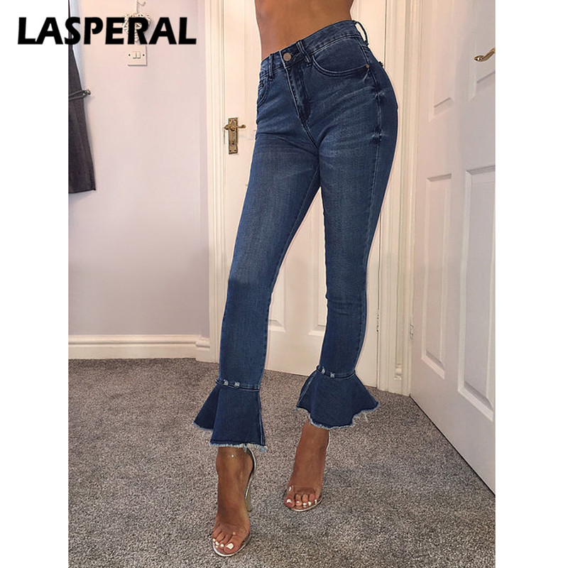 LASPERAL 2017 Spring Autumn New Fashion Women Flare Pants Jeans Ladies Jeans Denim Female Ankle Length Pants Slim Jeans 2017 spring new women sweet floral embroidery pastoralism denim jeans pockets ankle length pants ladies casual trouse top118