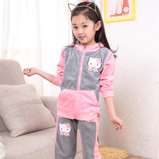 f21d8ba3e Girl's hello kitty clothing sets velvet children girl sport suit hoody  jackets+pants baby kids 2 piece suit set tracksuits 3 12Y-in Clothing Sets  from ...