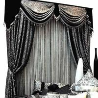 Custom curtains High Quality modern Fashion Luxury European black white jacquard mosaic blackout curtain tulle valance N225