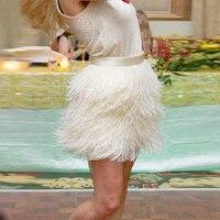 Сексуальная бежевая Женская мини юбка с перьями, Однотонная юбка выше колена на заказ, Женская юбка для вечерние выпускного вечера, высокое