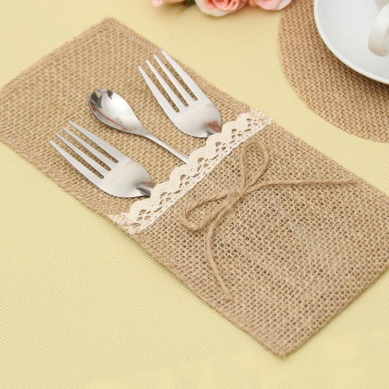 Party Diy Decorations 20pcs 21 *10cm Jute Tableware Pouch Pocket Burlap Knife And Fork Bag For Rustic Wedding Decoration Home Table Decor Festive & Party Supplies