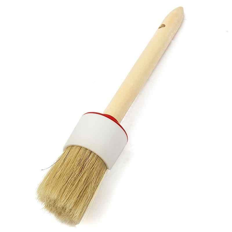 1 Pza 3,5 cm mango de madera profesional cera tiza cepillo aceite cerdas redondas pincel pintura artista herramienta DIY artesanía suministros