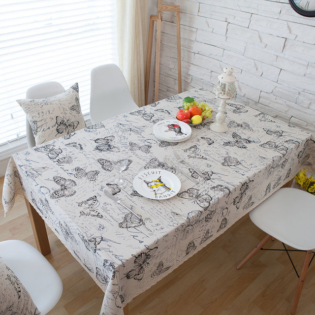 Campo Carta Impressão Borboleta Rendas Toalha de mesa Mesa de Jantar Retangular Sólida Capa Obrus Tafelkleed Cozinha Início Decorativa