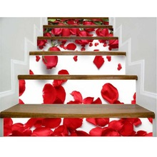 3D Valentine's Day Staircase Stickers Home Life Decoration Beautiful Festival Floor Stickers 6 Pcs/set(China)