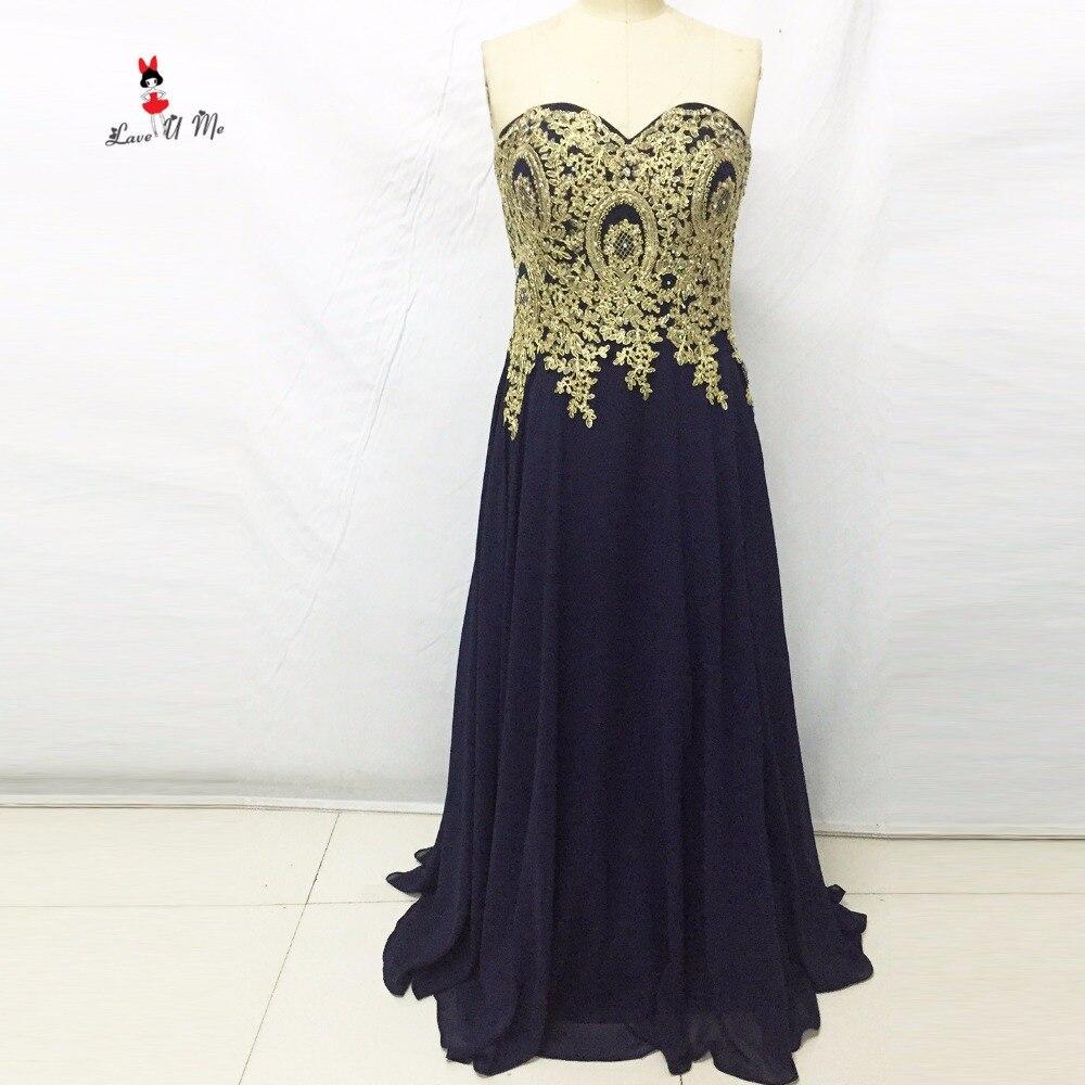 The dress gold blue - Cheap Navy Blue Long Evening Gowns Gold Lace Sweetheart Plus Size Formal Prom Graduation Dresses Women 2017 Vestidos De Festa