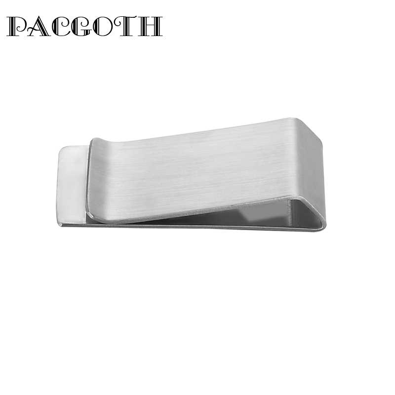 PACGOTH 304 Stainless Steel Rectangle Silver Tone Blank Stamping Money Clap Wallet 4x1.8cm 1PC