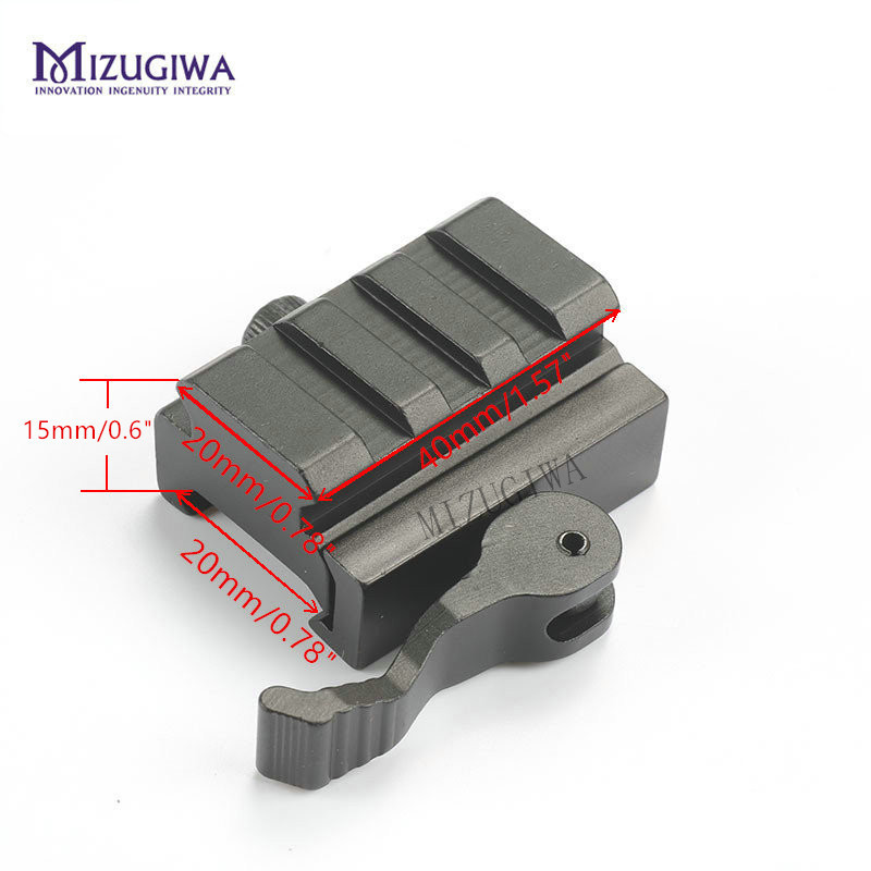 MIZUGIWA 2pcs 0.6 3 Slot QD Quick Detach Lever Lock Mout Picatinny Rail Adapter 20mm Picatinny for AR15 M16 Rifle Red Dot Sight image