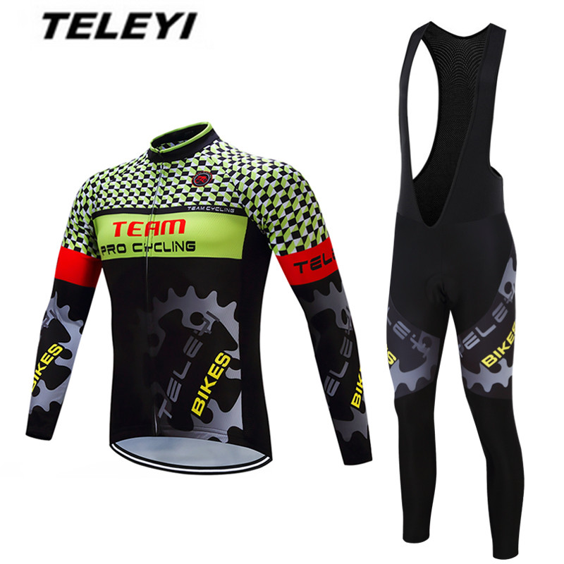 2017 TELEYI Gear Ropa Ciclismo Maillot trouser MTB Bike jersey Bib Pants Set Men Cycling clothing Suit Riding Long Sleeve Jacket