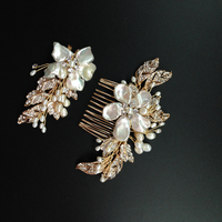 Fresh Water Pearl Bridal Hair Comb Set Rhinestone Beaded Wedding Hair Clips Floral Women Party Hair Jewery For Wedding