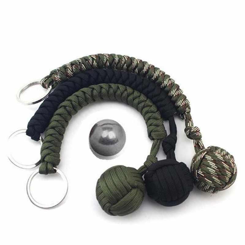 Chaveiro tecido à mão do guarda-chuva de sete núcleos com bola de aço chaveiro de sobrevivência de emergência ao ar livre do campo da auto-defesa