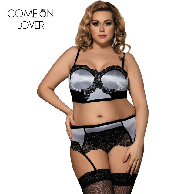 00e84d8e5c Push up lngerie bra and panty set garter belt set plus size 5XL lace erotic lingerie  set satin underwear women set sexy RE80093