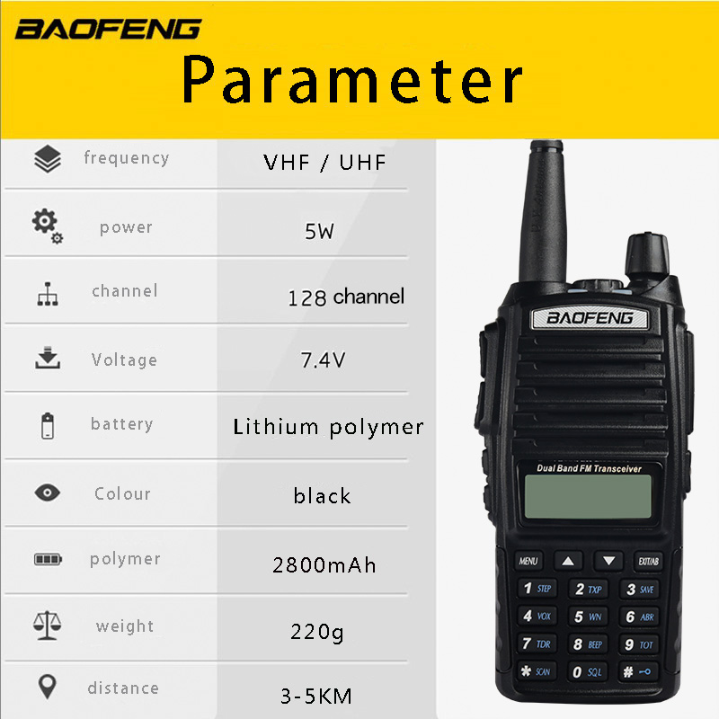 Image 5 - (4 PCS)BaoFeng UV 82 Dual Band 136 174/400 520 MHz FM Ham Two Way Radio, Transceiver, Walkie Talkie-in Walkie Talkie from Cellphones & Telecommunications