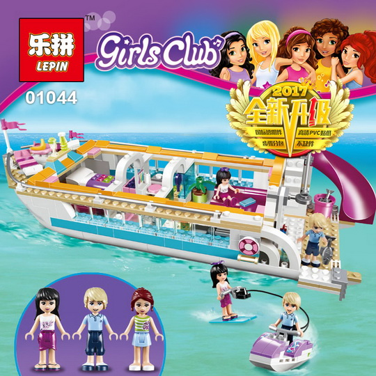 Lepin 01044 Friends Girl Series 661pcs Building Blocks toys Dolphin Cruiser kids Bricks toy girl gifts Compatible Legoe 41015 lis 10172 bela friends girl dolphin cruiser vessel ship building blocks big set compatible with gift bricks kid toy