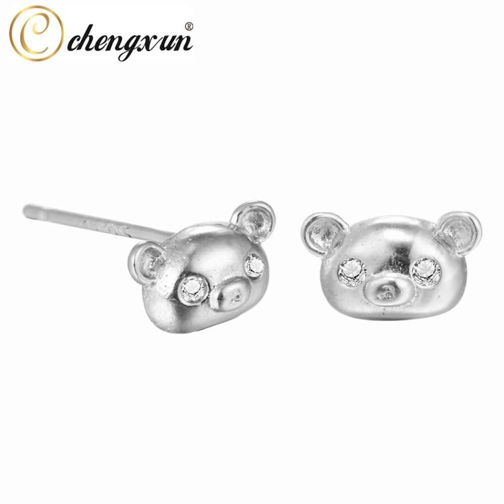 CHENGXUN 1 คู่น่ารักหมีต่างหูแฟนซีแฟชั่นน่ารักสแตนเลสสตีลต่างหูสตั๊ดสำหรับสตรีอุปกรณ์เสริม
