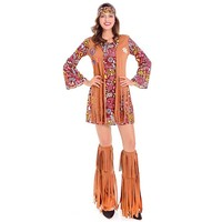 Adult 60 S Groovy Hippie Costume Flower Power Disco Costume Ladies 70s Diva Fancy Dress Outfit
