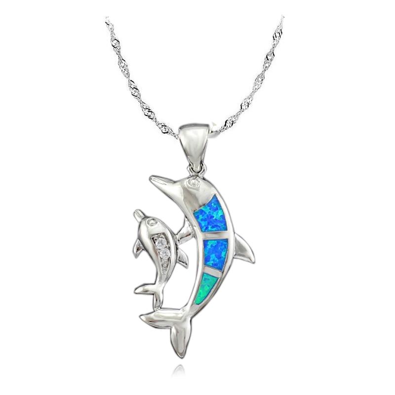 Wholesale Retail Blue Fire Opal Dolphin Fashion Jewelry Silver Plated Girls Women Opal Pendant For Women