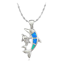 Wholesale Retail Free Shipping Blue Fire Opal Dolphin Fashion Jewelry Silver Plated Girls Women Opal Pendant For Women OP405