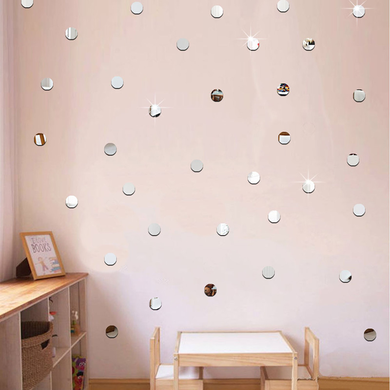 100pcs/lot 2cm Mini 3D Acrylic Mirror Wall Stickers Heart/Round Shape Stickers Decal Mosaic Mirror Effect Livingroom Home Decor