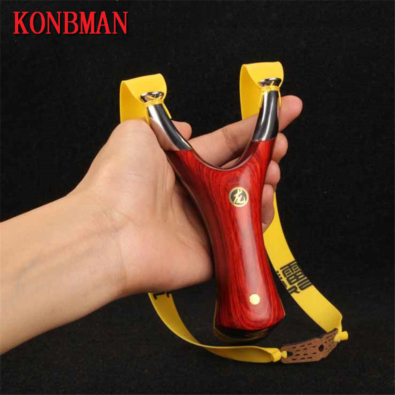 KONBMAN Stainless steel metal with red sandalwood handle free wrapped slingshot catapult outdoor huntingKONBMAN Stainless steel metal with red sandalwood handle free wrapped slingshot catapult outdoor hunting