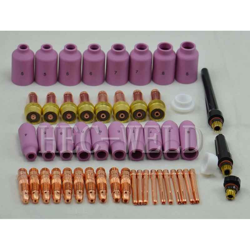 TIG KIT & TIG Welding Torch Consumables Accessories Alumina Gas Lens TIG Back Cap Collet Bodies FIT WP 17 18 26 Series 51PK ювелирное изделие 01c614076