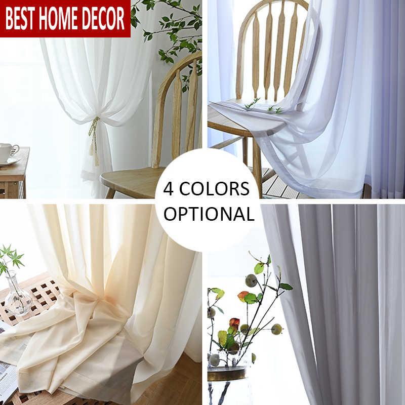 BHD однотонные тюлевые прозрачные оконные шторы для гостиной, спальни, современные тюлевые шторы из органзы, тканевые шторы, занавески для кухни