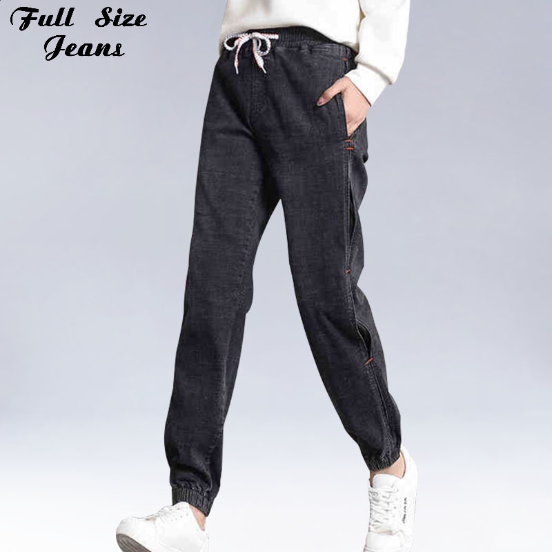 Design Side Black Loose Harem   Jeans   Women 4XL 3XL 7XL Boyfriend Joggers Female Elastic Waist Oversized Leg Harlan Pants
