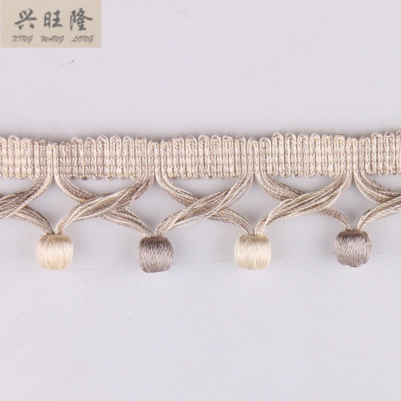 XWL 12M Lot 5cm Wide Cross Wooden Beads Curtain Accessories Decorative Lace Trim Tassel Fringes Ribbon