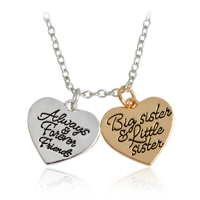 Double hearts always forever friends big sister litter sister double hearts always forever friends big sister litter sister pendant necklace gold silver mozeypictures Image collections
