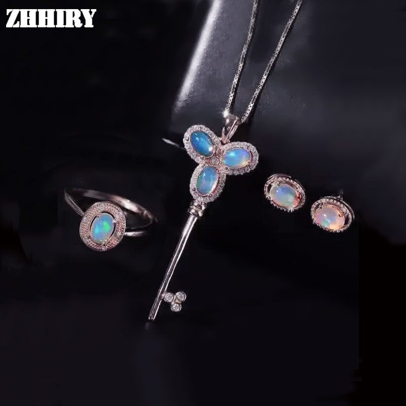 Natural Color Opal Gemstone Jewelry Sets Genuine Solid 925 Sterling Silver Women Ring Necklace Earring ZHHIRY недорого
