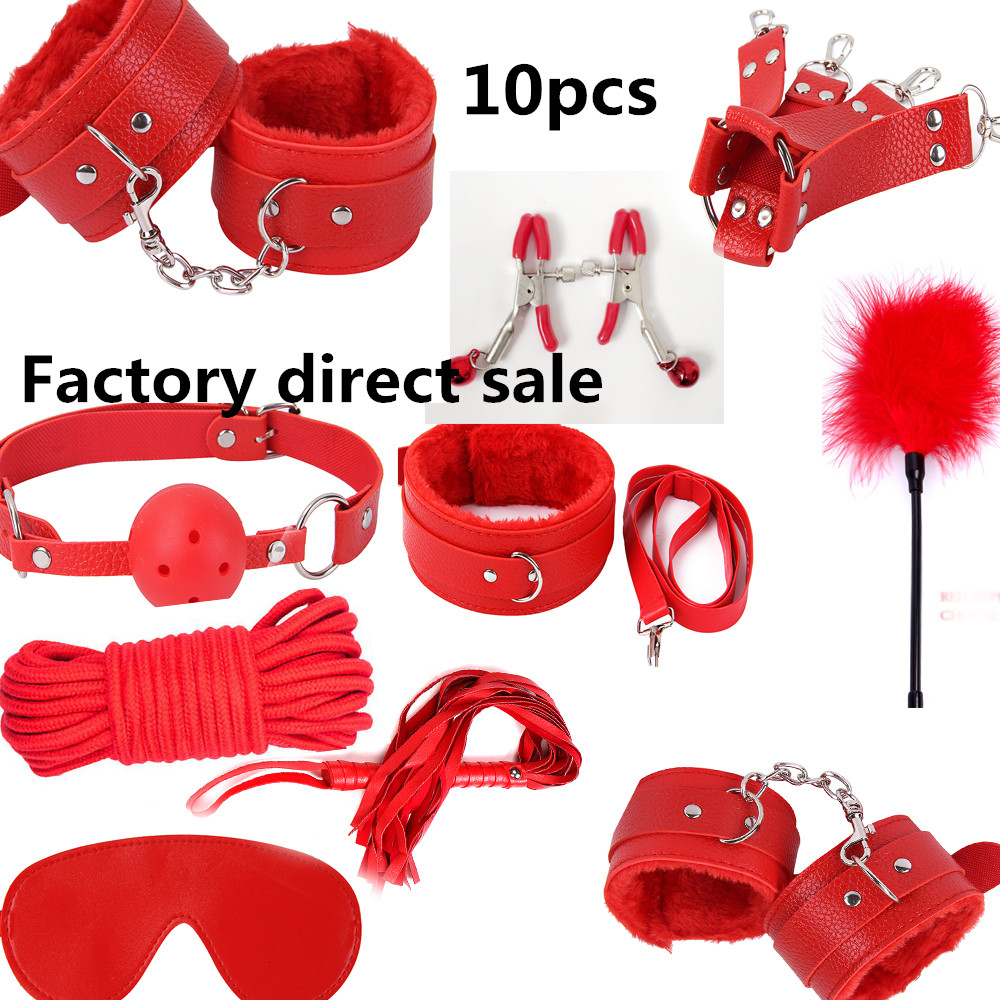 10 Pcs set Sexy Lingerie Sm products Sex toy set BDSM Sex Bondage Set Hand  Cuffs Footcuff Whip Rope Blindfold Erotic Sex ToysFor