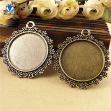 MINGXUAN 10pcs/lot Flower Antique Bronze/Antique Silver Round pendant setting inner 30mm for Cabochon Beads C744