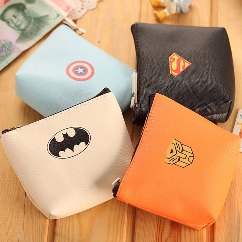 XYDYY Kawaii Batman PU Coin Purses Cartoon Superman Women Children Wallet Bag Fashion Zipper Mini Square Pouch Bag Handbag xydyy 2017 new women coin purses or handbags cute cartoon pu leather mini pouch kawaii children wallet small bag for keys