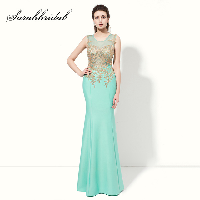 Cheap Golden Appliques Long Mermaid Prom Dresses Sexy Illusion Bodice Evening  Party Gown Mint Sleeveless Gala Dress LX412 4dacdbfdc