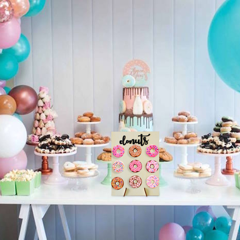 Image 5 - 1set Wooden Donut Wall Stand Wedding Decoration DIY Donut Stand Holder Doughnut Display Wall Baby Shower Birthday Party Decor-in Party DIY Decorations from Home & Garden