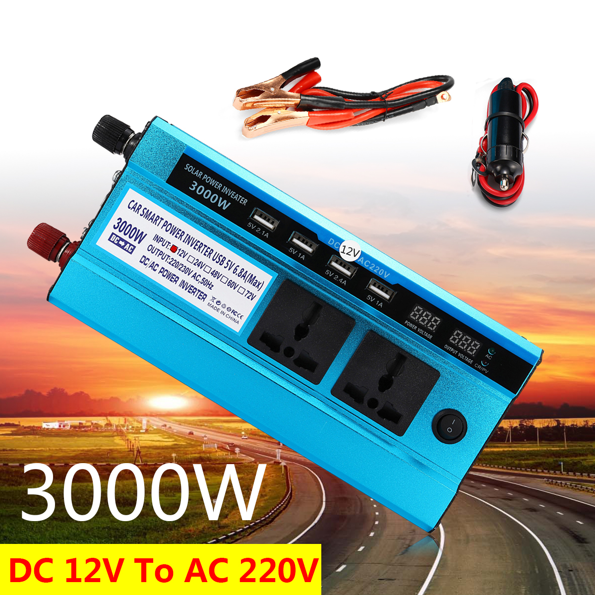Aliexpresscom Voltage Transformer Car Led Solar Power Inverter Technology How To Wire Two 24v Panels In Parallel With 12v Peak 3000w Dc 12 Ac 220v Sine Wave Usb Converter Digital Display