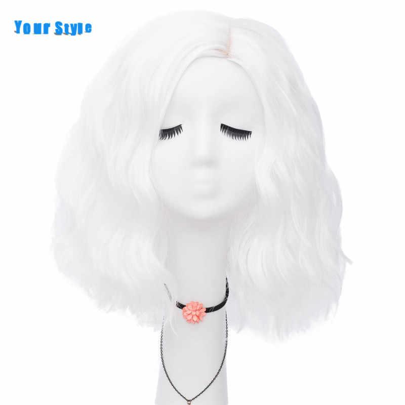 Stil sentetik kısa gevşek dalga BOB peruk kadın kadınlar için siyah kırmızı pembe mavi gri turuncu renk Anime doğal saç peruk