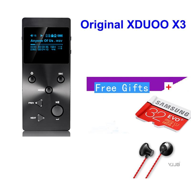 Xduoo X3 MP3 HIFI Music Player with HD OLED Screen Support APE/FLAC/ALAC/WAV/WMA/OGG/MP3 With Free Earphone/32GB TF card(coupon)