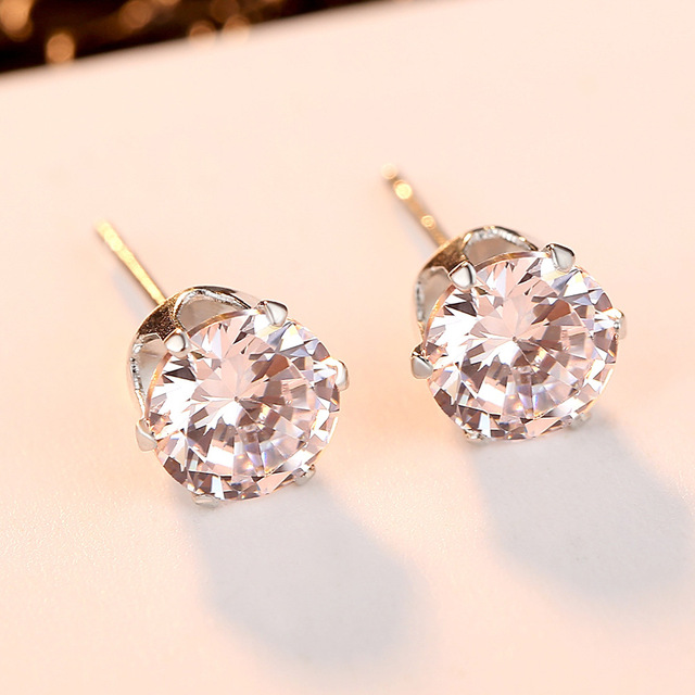925 Sterling Sliver Stud Earrings 2 Carat