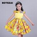 3-8 Т марка атласная платье девушки желтый принцесса балета партии девушки свадебное платье Рождество стиль sweet child's одежда