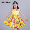3-8T brand satin girl dress yellow  princess ballet party girl wedding dress Christmas style sweet child's clothes