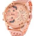 Top Marca de Luxo OULM Zona 2 Tempo relógios homens esportes militares relógio de quartzo-2016 mens Rosa de Ouro Caixa Preta relogio masculino