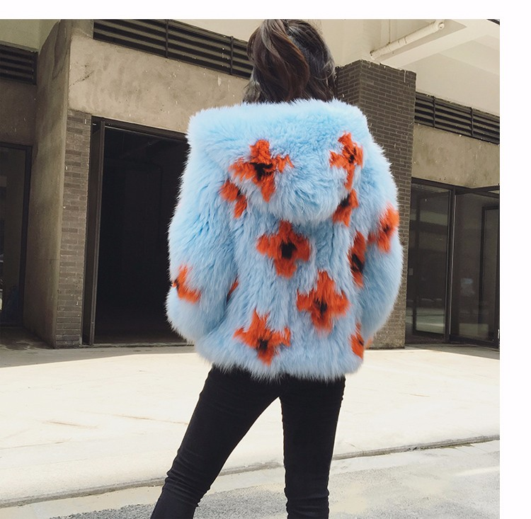 2016 New Arrival 100% Natural Fox Fur Knitted Coat With Hood,Women's Real Fox Fur Outerwear Hooded BE-1663 EMS Free Shipping 7