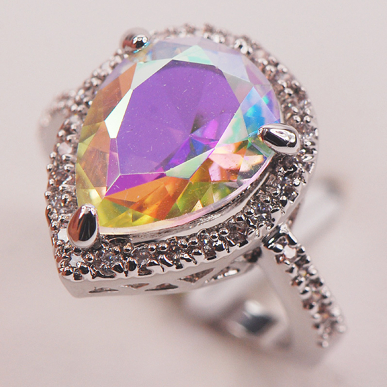 Rainbow Mystic Crystal Zircon Fashion 925 Sterling Silver Woman Ring Size 6 7 8 9 10