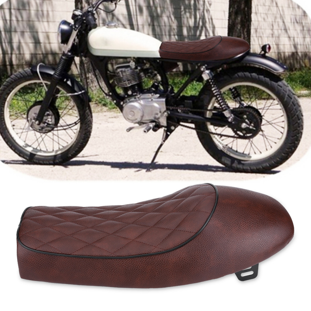 Motorcycle Cafe Racer Seat Custom Vintage Hump Saddle Flat pan Retro Seat for Honda CG125 GN CG CB400SS PU Leather Cushion
