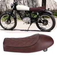 Motorcycle Cafe Racer Seat Custom Vintage Hump Saddle Flat pan Retro Seat for Honda CG125 GN CG CB400SS PU Leather Cushion