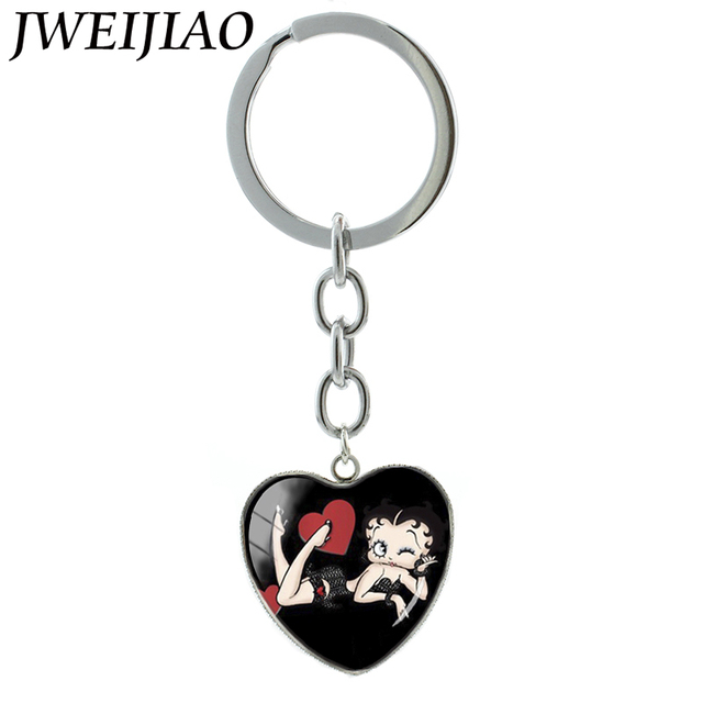 JWEIJIAO Vintage Harajuk Cartoon Women Boop Heart Pendant Key Chain Ring Sun Triple Moon Goddess Keychain Custom Jewelry HP474